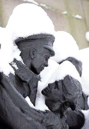 Snow and freezing hits uk: The War Memorial in Newcastle City centre looks like a snow sculpture