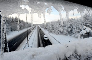 Snow and freezing hits uk: The A1 in Newcastle which was closed between Berwick and Edinburgh