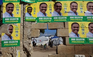 Haiti Elections: Wall of the Petionville camp, in Port au Prince, Haiti