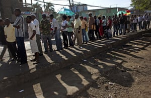 Haiti Elections: People wait in line to cast their vote during general elections