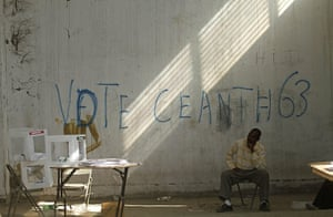 Haiti Elections: An electoral worker watches the ballot boxes