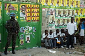 Haiti Elections: A Brazilian UN peacekeeper stands guard