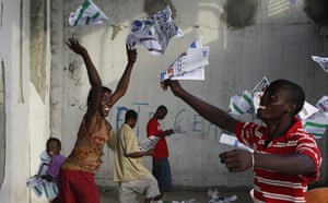 Haiti Elections:  ballots into the air after frustrated voters destroy electoral material