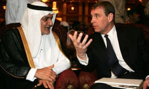 Prince Andrew talks to Prince Turki al-Faisal, Saudi ambassador to the UK