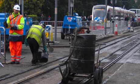 Engineers working on the Edinburgh Tram project at Princes Street