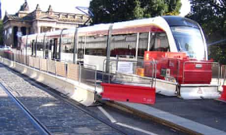 Edinburgh Tram surrounded by fences
