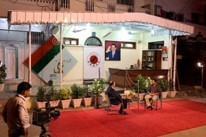 Karachi Pakistan: Mustafa Kamal gives at interview outside 'Nine Zero', the party's HQ