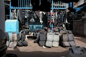 Karachi Pakistan: The auto parts shop in Karachi's Shershah kabari (scrap) market