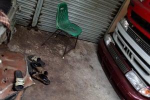 Karachi Pakistan: A deserted auto parts shop in Karachi's Shershah kabari (scrap) market