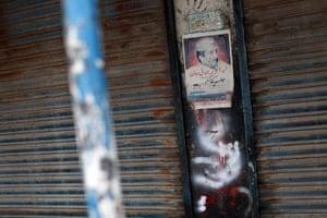 Karachi Pakistan: A poster commemorating Anwar Bhai Jan, a slain Baloch community leader