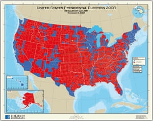 Mapping America: Results by county in the United States presidential election 2008