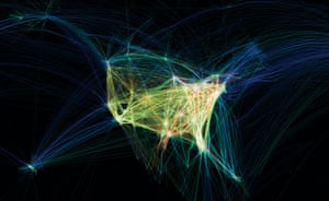 Mapping America: Flight patterns over the US poster