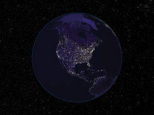 Mapping America: Clusters of light at night showing the populated regions of the US