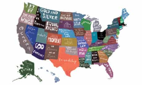 50 States and their Mottos by artist Emily Wick, from the book Mapping America.