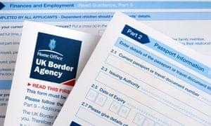 A Border Agency visa application form