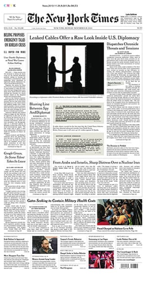 Newspaper front pages: New York Times