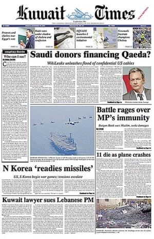 Newspaper front pages: Kuwait Times