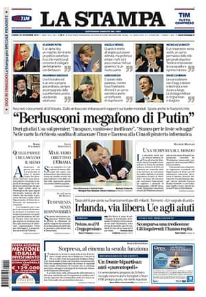 Newspaper front pages: La Stampa