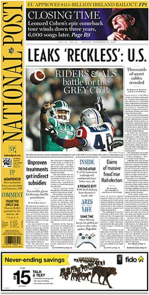 Newspaper front pages: Canada National Post
