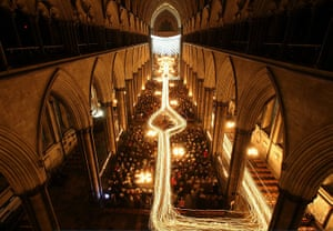 24 hours in pictures: Salisbury Cathedral Hosts Darkness To Light Advent Procession