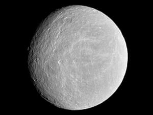 Space Monthly:  Rhea, one of planet Saturn's moons