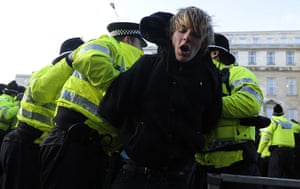 Police detain protester in Leeds