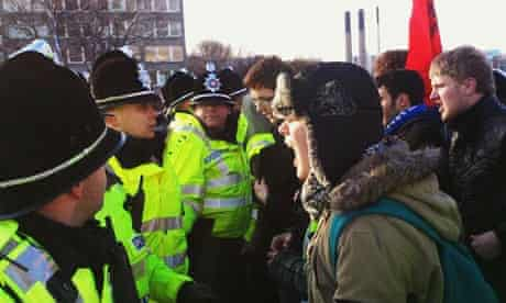 Police at Leeds students' protest, attempting to stop the march.
