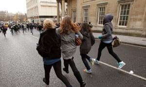 Students run through central Bristol