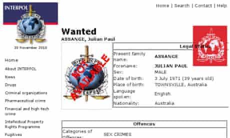 Interpol poster for Julian Assange