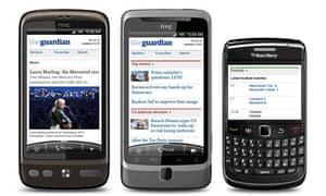 Guardian mobile site screenshots