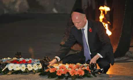 William Hague lays a wreath in the Hall of Remembrances during a visit at the Yad Vashem