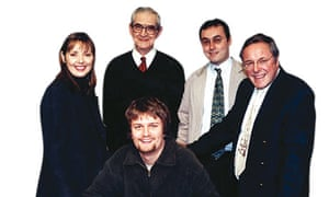 Cashmore celebrates his victory in 1997 with the Countdown team.