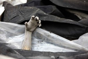 Mount Merapi: A hand of a victim in Volcano Merapi's latest re-eruption