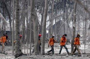 Mount Merapi: A search and rescue team looks for victims  at Ngancar village