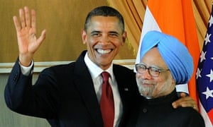 US President Barack Obama and IndianBarack Obama shakes hands with Indian President Pratibha Patil