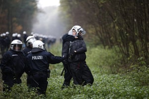 Anti-nuclear protests: Police officers detain an anti-nuclear activist at Leitstade