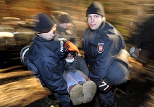 Anti-nuclear protests: Police carry away an anti nuclear demonstrator who blocked the rails