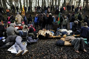 Anti-nuclear protests: Anti-nuclear protesters sleep and rest on the railway tracks at a blockade