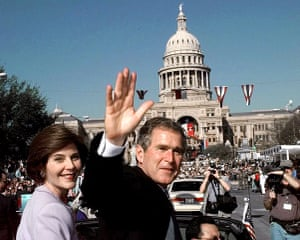 George W Bush: 19 January 1999: Texas Governor George W Bush, and his wife Laura ride