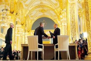 George W Bush: 24 May 2002: President Bush and President Vladimir Putin shake hands
