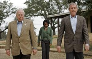 George W Bush: 28 December 2006: President Bush, Dick Cheney, Condoleezza Rice in Crawford