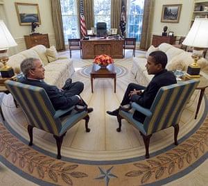 George W Bush: November 10 2008: George W Bush and Barack Obama meet in the Oval Office
