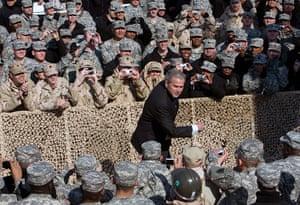 George W Bush: 12 January 2008: US President George W Bush greets US soldiers in Kuwait
