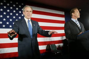 George W Bush: 16 October 2003: US President George W Bush tries to quiet supporters