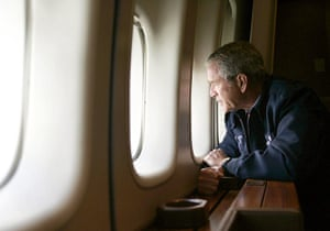 George W Bush: 31 August 2005: US President George W Bush looks out of Air Force One