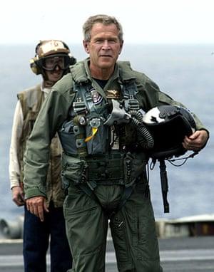 George W Bush: 1 May 2003: US President George W Bush on USS Abraham Lincoln