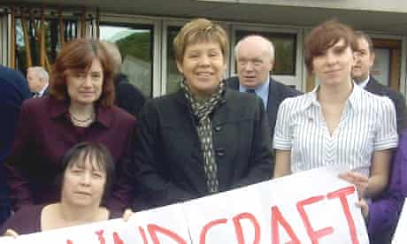 Sarah Boyack MSP, councillor Lesley Hinds and campaigner Hannah Lister, in the back row, hope Blindcraft can be saved