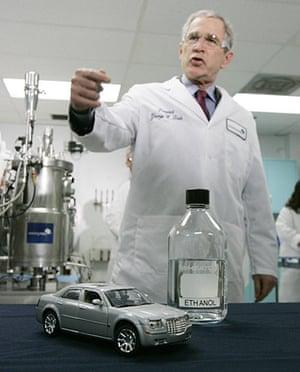 George W Bush: 22 February 2007: President Bush with a bottle of ethanol and a model car