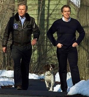 George W Bush: 23 February 2001: President Bush walks with Tony Blair and Bush's dog Spot