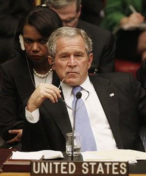 George W Bush: 25 September 2007: President Bush and Condoleezza Rice at the UN